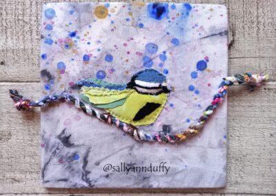 'Blue Tit' Hand dyed fabric/applique- Sally-Ann Duffy